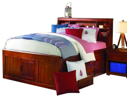Full Size Captains Bed With Bookcase Headboard And Six Storage