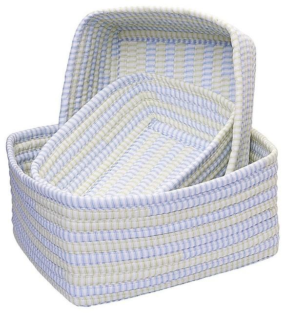 Basket Ticking Stripe Set Of Rectangle Blue Basket