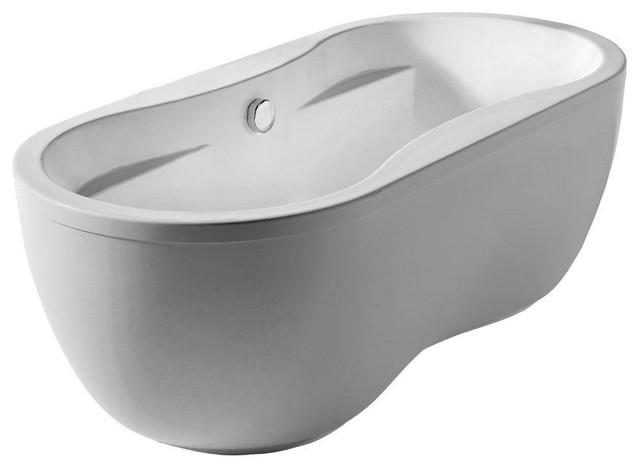Bathhaus 5.6u0027 Lucite Acrylic Center Drain Oval Freestanding Bathtub, White  Traditional Bathtubs
