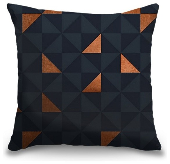 """""""Copper Triangles Navy"""" Pillow 16""""x16"""""""