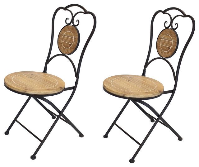 French Cafe Bistro Folding Chair Black Metal Frame Wood Round Seat Set Of