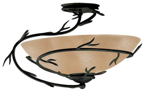 kenroy home 90905 twigs single-light semi-flush in bronze finish