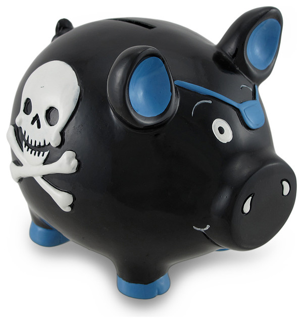 black and blue pirate pig with skull and crossbones piggy bank coin bank