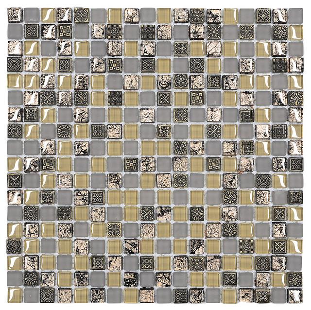 """Beige Gray Brown Backsplash Tile for Charming Kitchens, 12""""x12"""""""