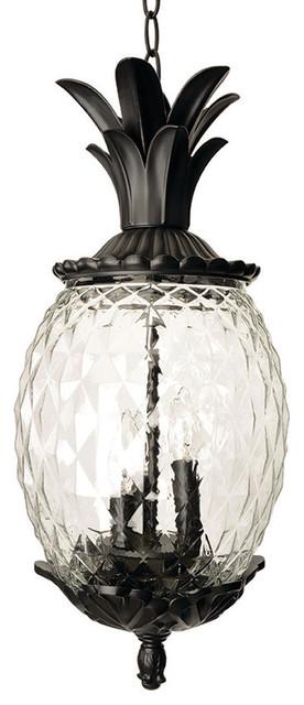 Lanai Collection Hanging Lantern 3 Light Outdoor Light, Matte Black  Tropical Outdoor