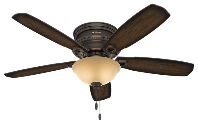"""Hunter 52"""" Ambrose Low Profile Bowl Light Onyx Bengal Ceiling Fan With Light."""