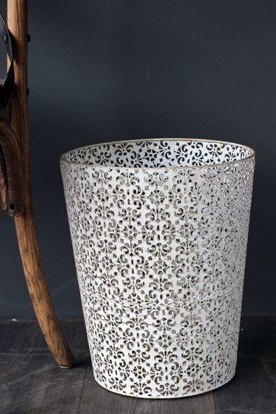 metal lace effect bin - white