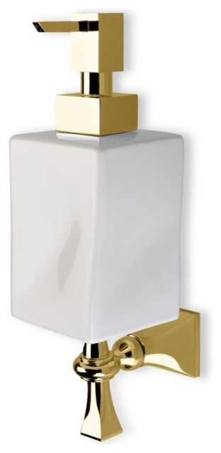 Classic Wall Mounted Gold and Ceramic Soap Dispenser