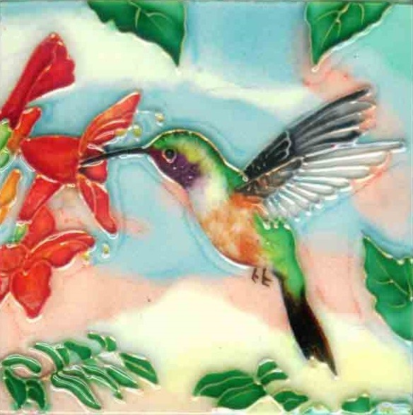 Green Hummingbird With Red Flowers Tile