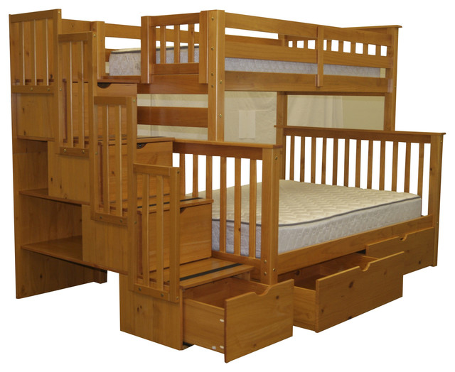 Bunk Beds Twin Over Full Stairway Honey And 2 Extra Drawers Transitional