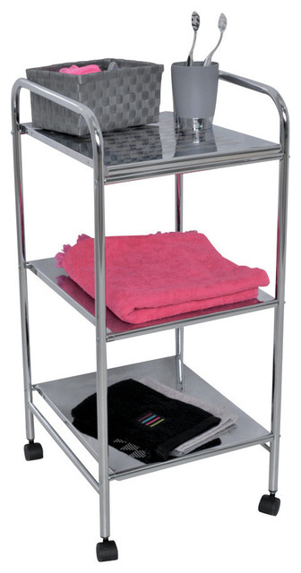 Home Storage Utilities Rolling Cart 3 Metal Shelves 28 x12.4 x14.  sc 1 st  Houzz & Home Storage Utilities Rolling Cart 3 Metal Shelves 28