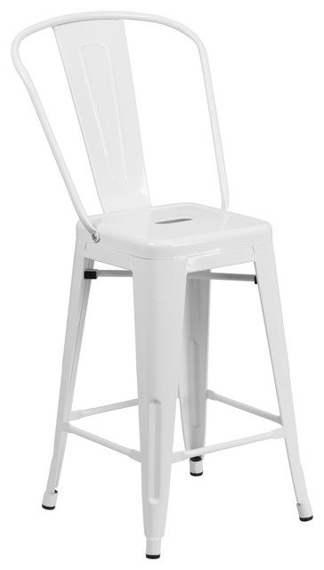 MFO 24'' High White Metal Indoor-Outdoor Counter Height Stool with Back