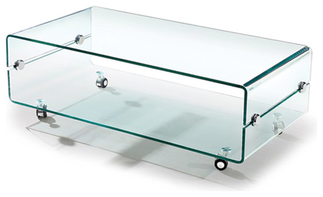 modern bent glass coffee table on casters slide. Black Bedroom Furniture Sets. Home Design Ideas