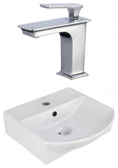 "13.75""above Counter White Vessel Set For 1 Hole Center Faucet, Faucet Included."