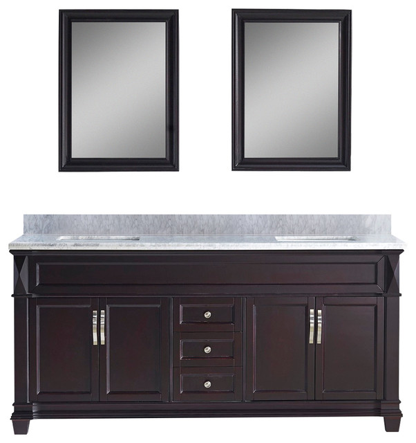 """Victoria 72"""" Double Vanity, White Marble, With Mirror, Without Faucet, Square."""