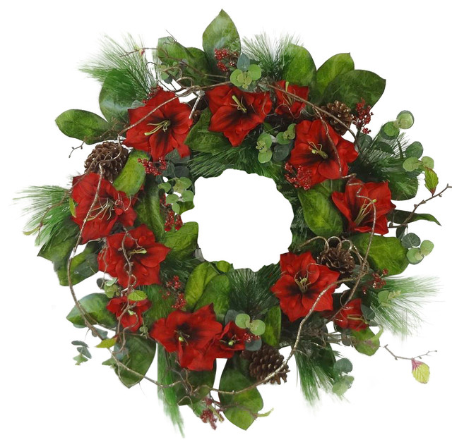 Floral home decor red amaryllis christmas wreath view for Amaryllis christmas decoration