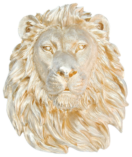 Faux Taxidermy, Gold Lion Head Wall Mount,.
