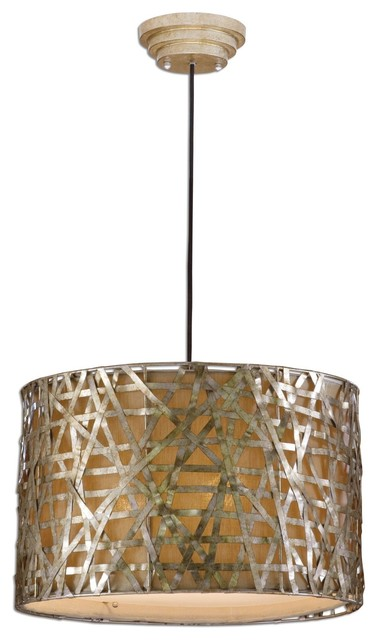 uttermost alita champagne metal drum pendant lighting - Drum Pendant Lighting