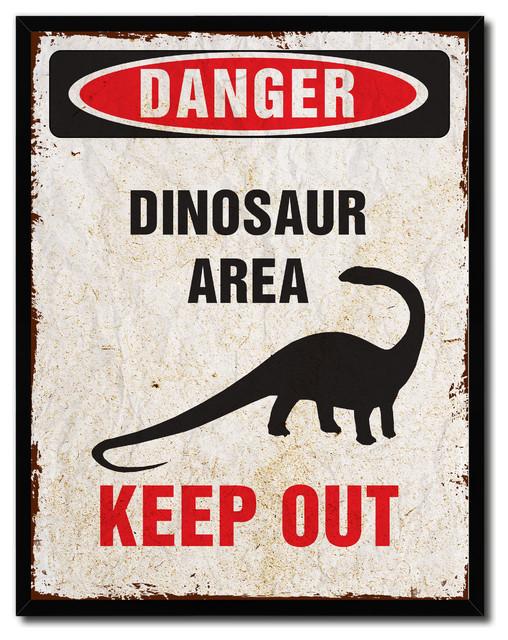 Danger Dinosaur Area Danger Sign Canvas Picture Frame