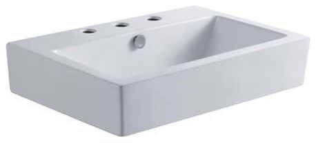 Modern China Vessel Bathroom Sink With 3-Faucet Holes In White.