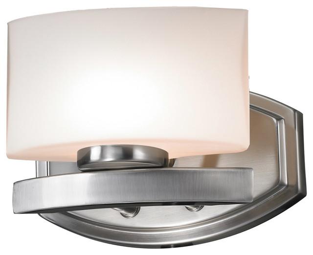 Z-Lite 3013-1V Brushed Nickel Galati 1 Light Bathroom Sconce with Matte Opal Gla