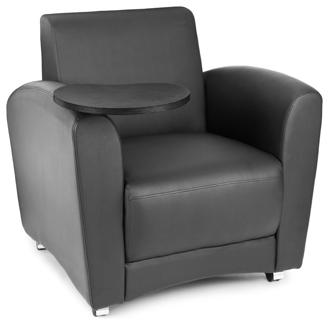 Strange Interplay Lounge Chair With Tablet Black And Tungsten Ibusinesslaw Wood Chair Design Ideas Ibusinesslaworg