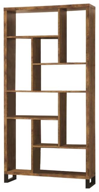 Coaster Bookcase Antique Nutmeg Black Transitional Bookcases
