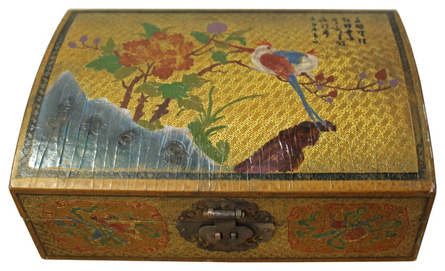 Consigned Chinese Golden Yellow Flower Birds Graphic Box Asian Amazing Chinese Decorative Boxes