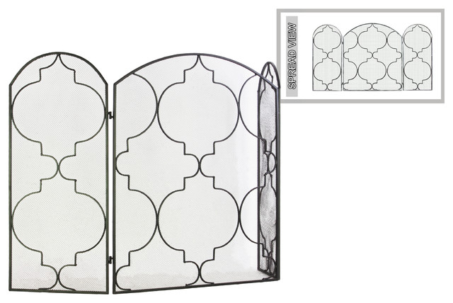 "Metal Hinged Fireplace Screen With ""large Quatrefoil Interval"" Design."