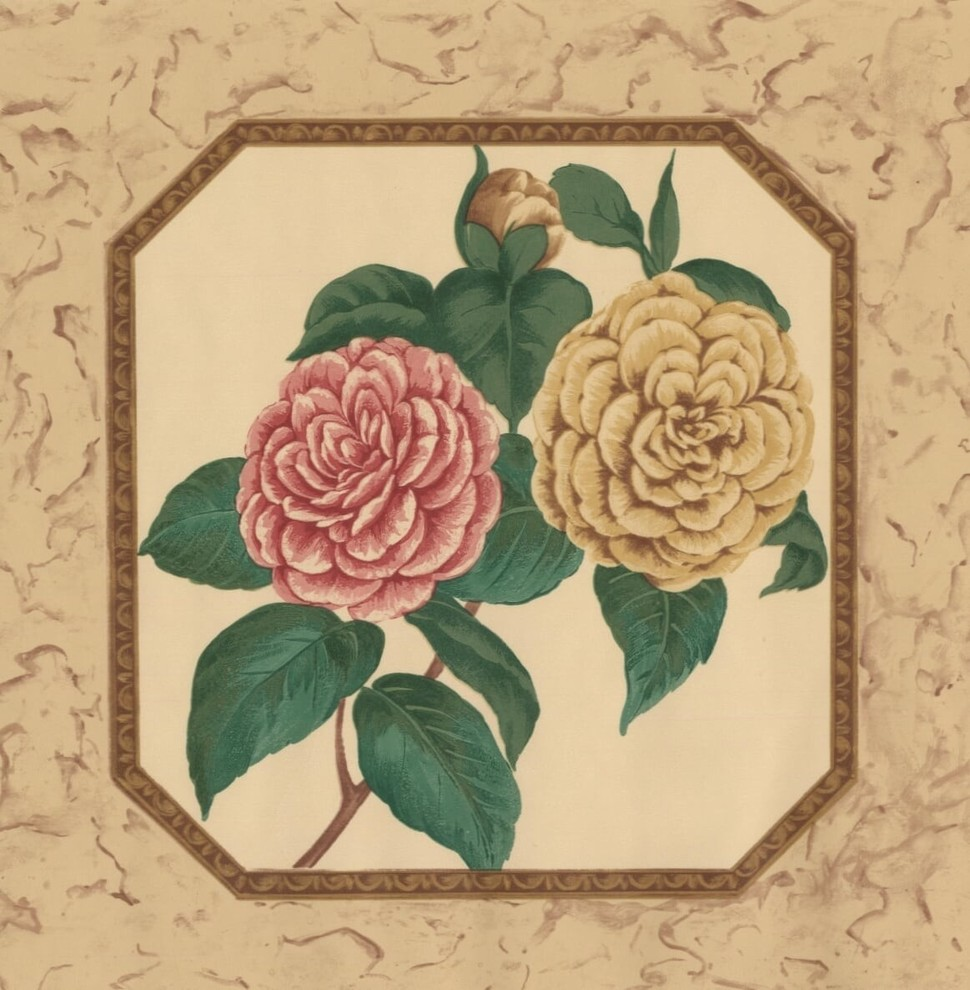 Pink Mustard Yellow Flowers In Stylized Plates Vintage Wallpaper