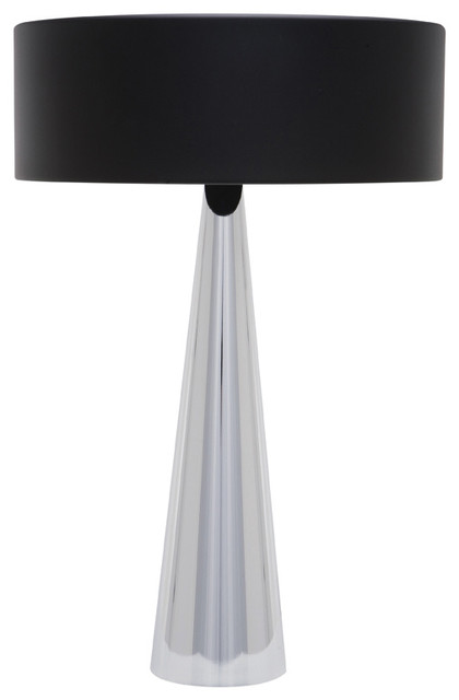 Kasa Table Lamp Black Chrome Contemporary Lamps