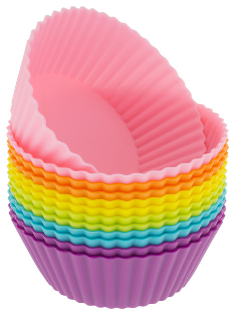 Freshware 12-Pack Silicone Mini Round Baking Cup, Multicolored.
