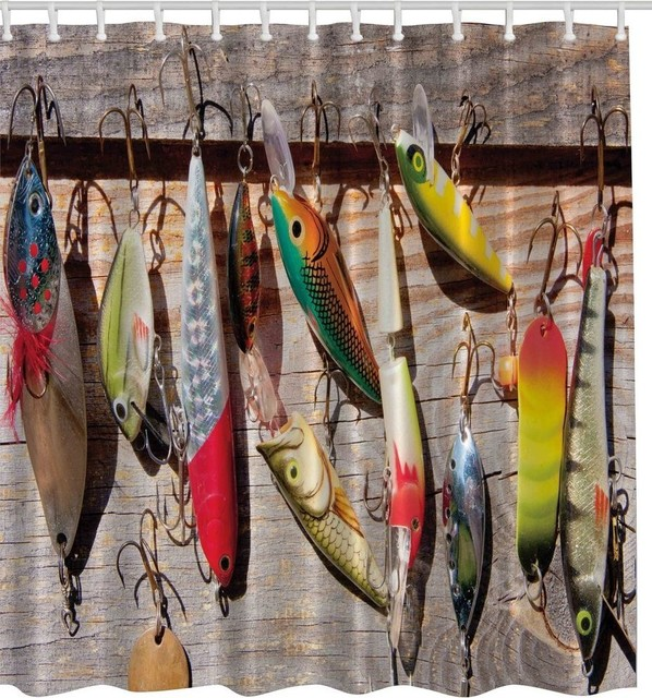 Fishing Lures Fabric Shower Curtain
