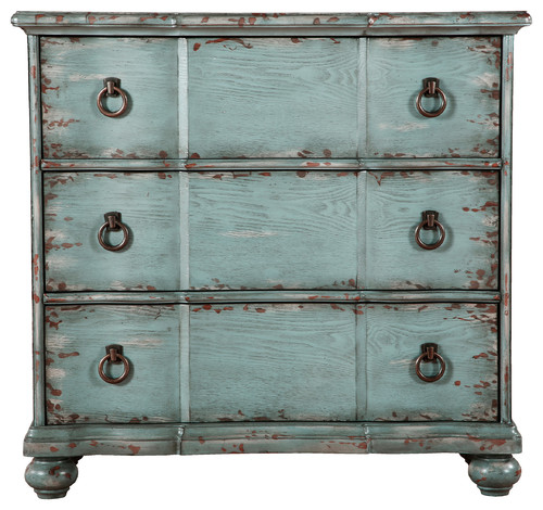 Distressed 3-Drawer Farmhouse Chest, River Blue