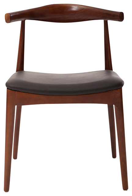 Elbow Dining Chair Black Italian Leather And Ash Wood Walnut Stain Contemporary