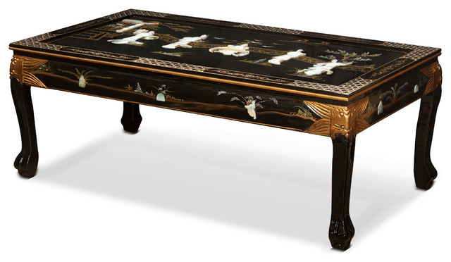 Black Lacquer Mother Of Pearl Figurine Coffee Table