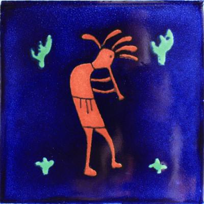 4.2x4.2 9 pcs Blue Kokopelli Talavera Mexican Tile by Fine Crafts & Imports