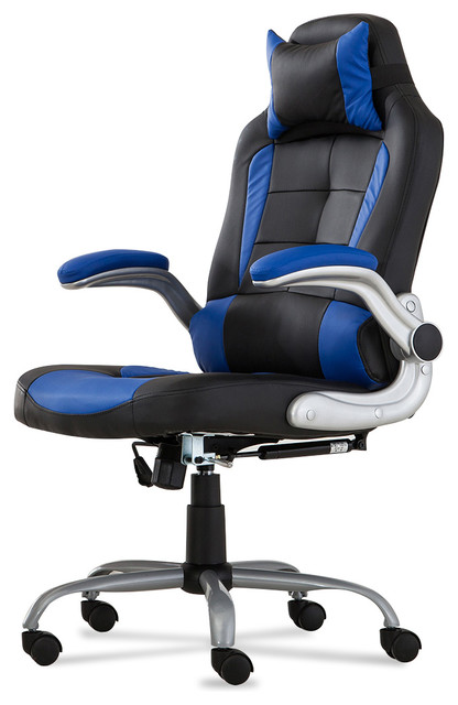 Executive High Back Reclining Faux Leather Racer Back Chair, Blue/black