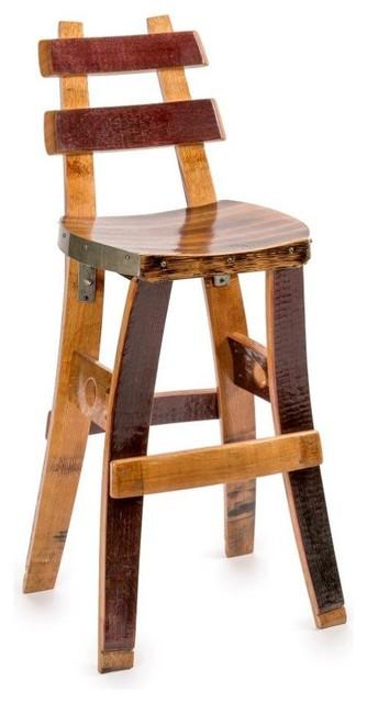 Fallen Oak Wine Barrel Barstool With Back Rest Bar