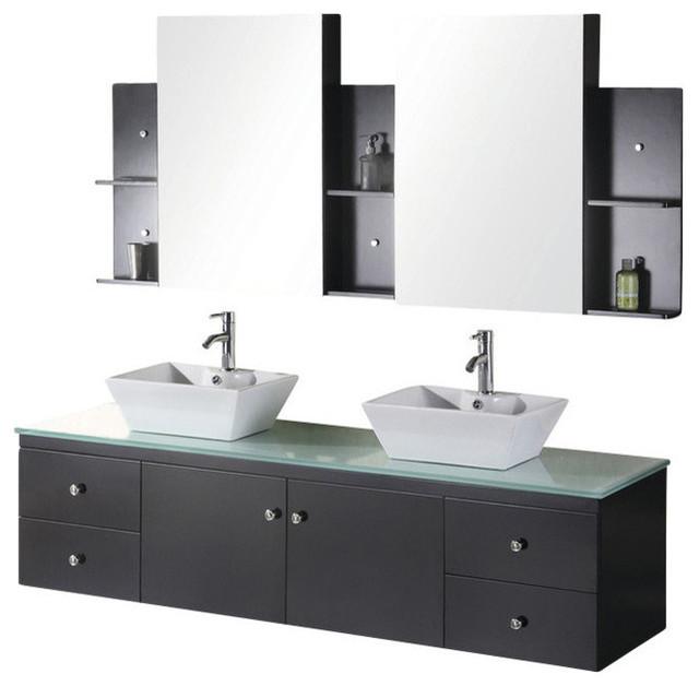 Portland 72 Double Sink Wall Mount Vanity Set Espresso Bathroom Vanities By Luxury Bath