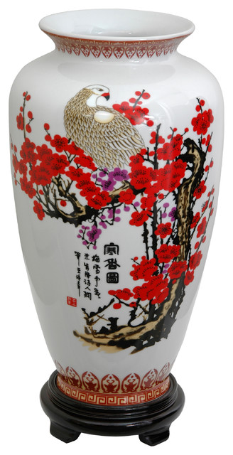 14 in. High Cherry Blossom Porcelain Tung Chi Vase