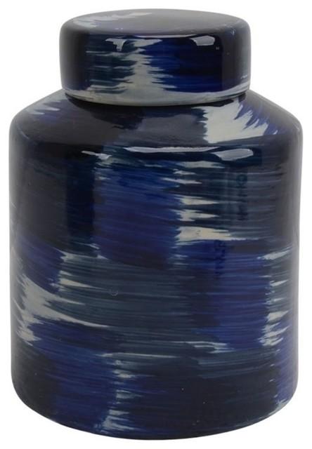 "Sagebrook Home Ceramic Jar With Lid 9"", White/Blue"