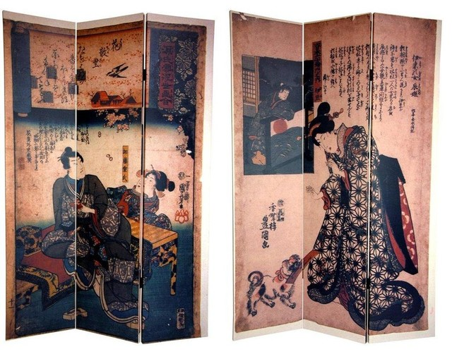 Tall Double Sided Japanese Figures Room Divider asian-screens-and- - 6 Ft. Tall Double Sided Japanese Figures Room Divider - Asian
