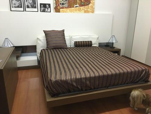 Colore camera da letto vs pavimento e tetto a vista