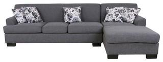 Allen Modern Fabric Reversible Sectional Sofa Set, Gray