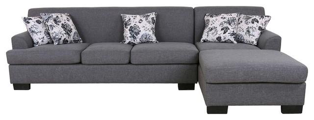 Allen Modern Fabric Reversible Sectional Sofa Set Gray