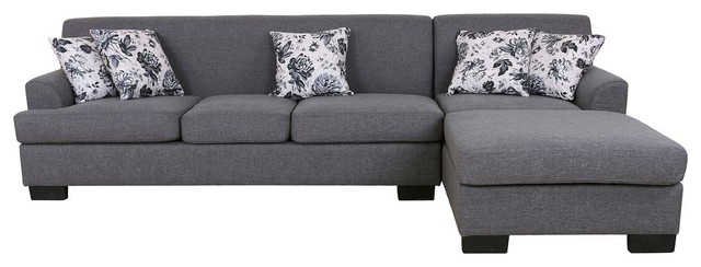 Allen Modern Fabric Reversible Sectional Sofa Set, Gray Transitional  Sectional Sofas