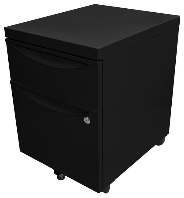 Mobile Pedestal File Cabinet With Locking Drawer, Black - Contemporary - Filing Cabinets - by ...