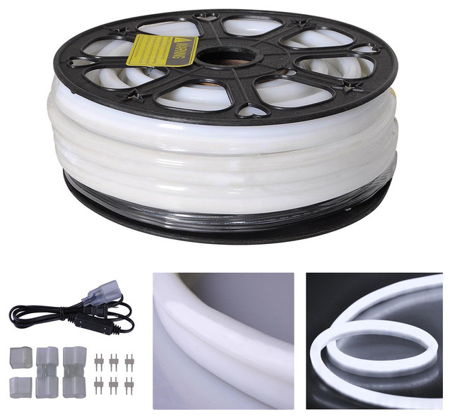 50&x27; Led Neon Rope Light Outdoor Christmas Party Flexible Tube, Cool White.