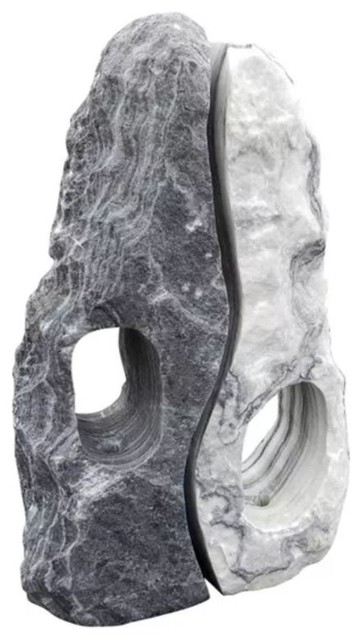 """Stone Age Creations Serenity Marble 48"""" Lanterns 2-Piece Set,  Natural Stone"""